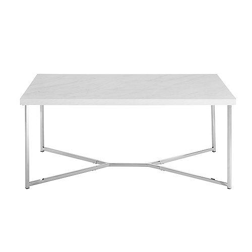 """Table basse avec pieds en Y de style rétro-moderne transitionnel de 42"""" - Faux marbre blanc/Chrome"""