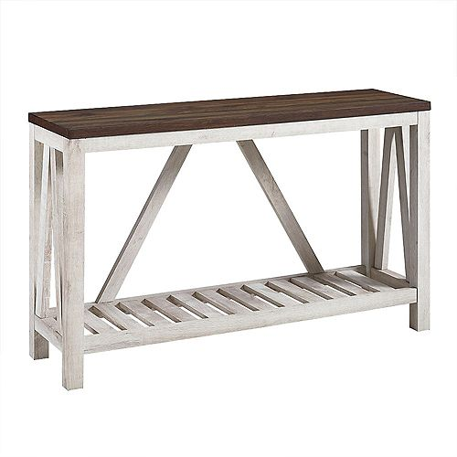 """Table d'entrée rustique à cadre en A de 52"""" - Plateau en noyer foncé avec corps en chêne blanc"""