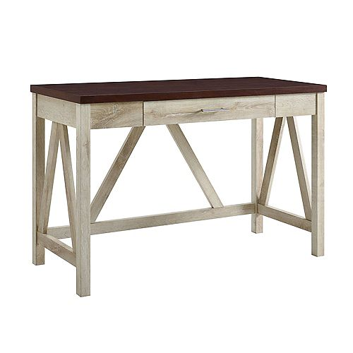 Rustic Farmhouse Wood Computer Desk - White/Traditional Brown