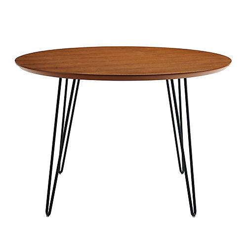 """Table de salle à manger ou cuisine ronde rétro-moderne à pieds en épingles de 46"""" - Noyer"""