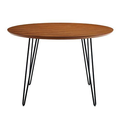 4 Person Mid Century Modern Round Dining Table - Walnut