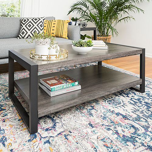 Welwick Designs Mid Century Modern TV Stand with Sliding Door for TV's up to 56 inch - Black/Barnwood