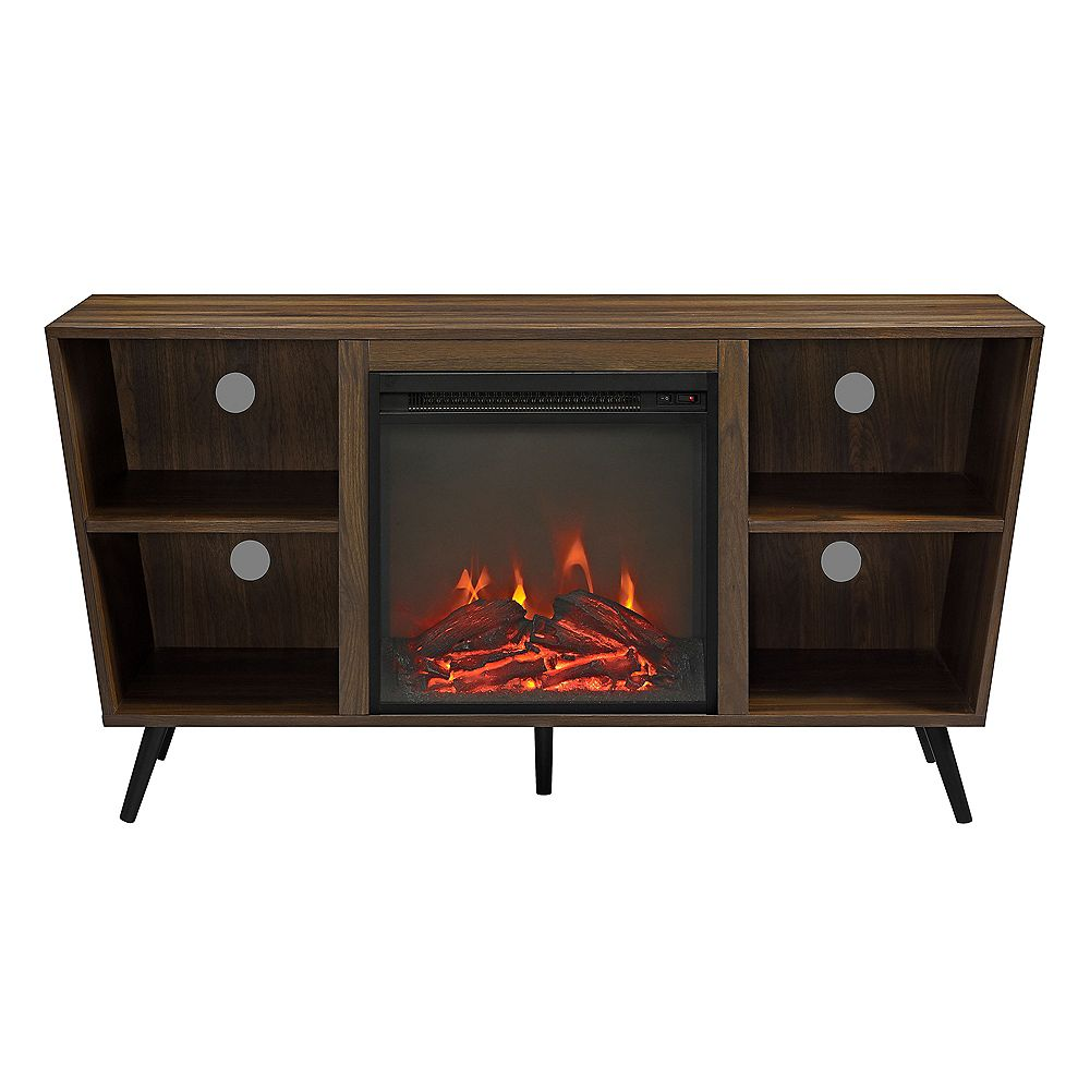 Welwick Designs 52 inch Mid Century Modern Angled Side Fireplace Console TV Stand Entertainment Center - Dark Walnut
