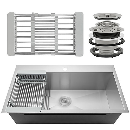 Handcrafted Top Mount Stainless Steel 33 inch x22 inch x9 inch  Single Bowl Kitchen Sink with Tray and Drain