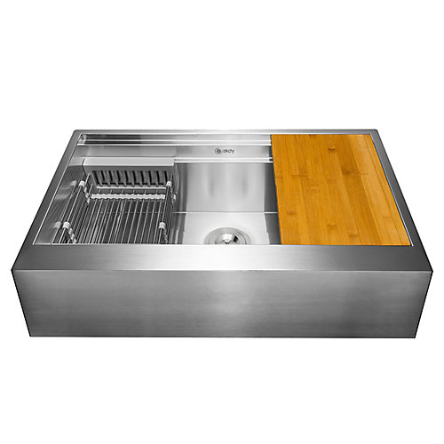 Handcrafted Apron Undermount 30x20x9 Flat Front Kitchen Sink in Stainless Steel with Accessories