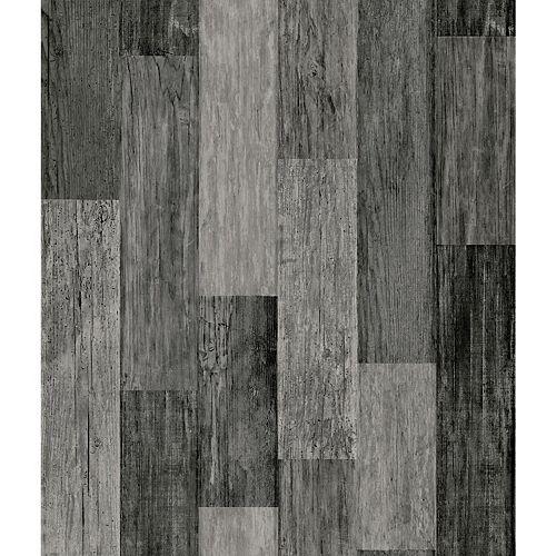 Weathered Wood Plank Black Peel & Stick Wallpaper