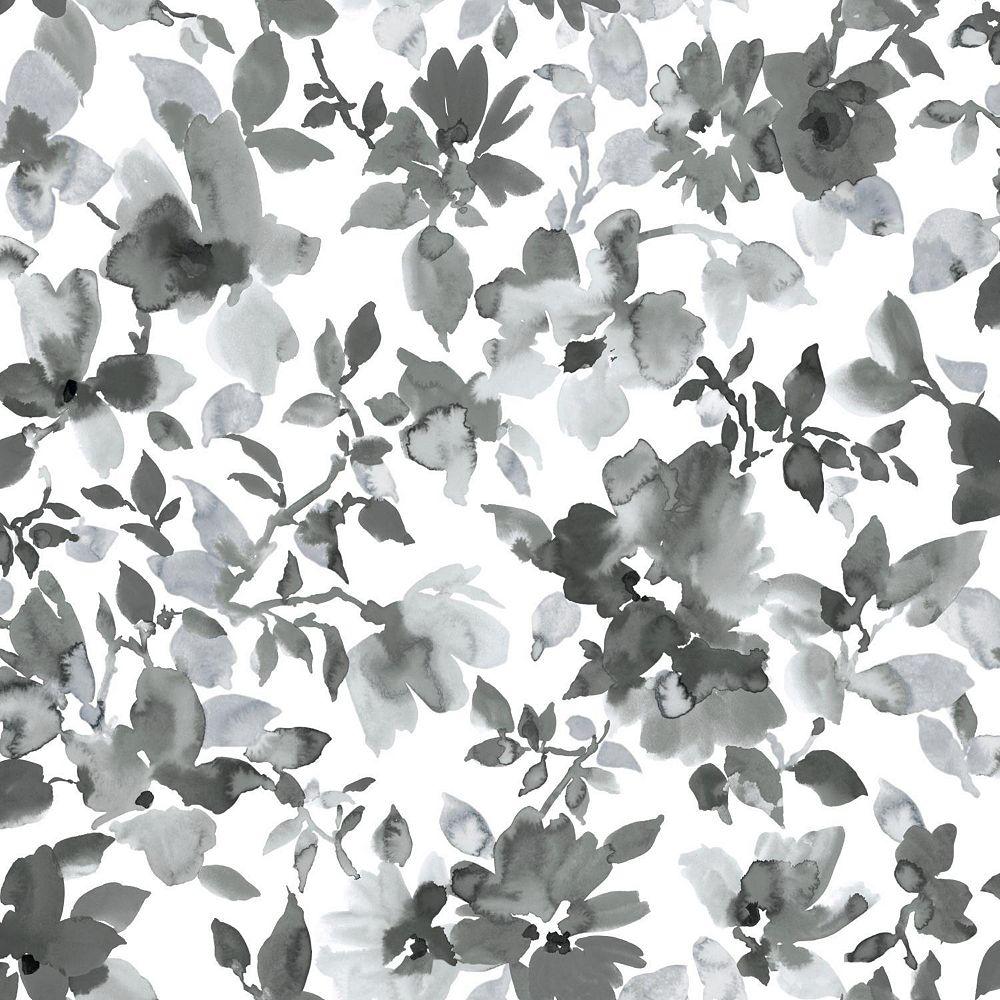 Roommates Black Watercolor Floral Peel Stick Wallpaper The Home Depot Canada