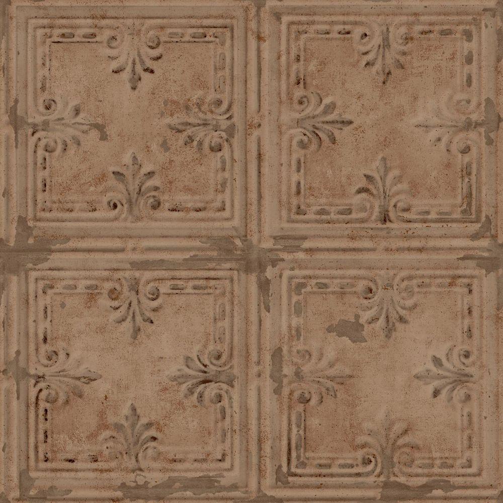 RoomMates Copper Tin Tile Papier Peint Auto-Adhesif