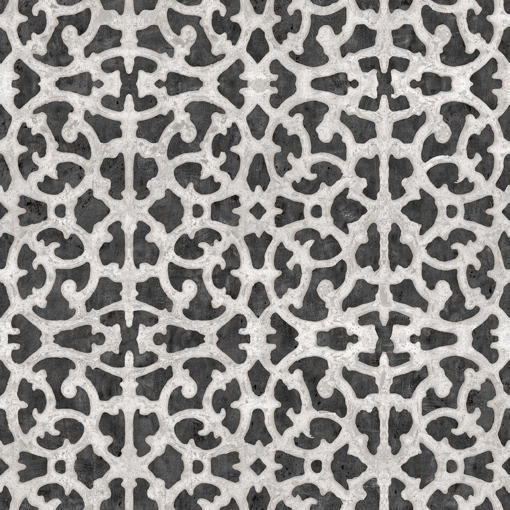 RoomMates Black/White Scroll Gate Papier Peint Auto-Adhesif