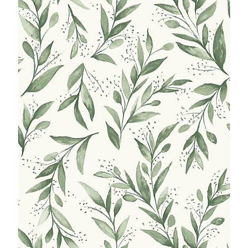 Olive Branch Green Wallpaper