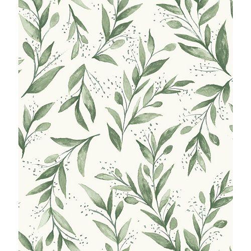 Olive Branch Green Wallpaper