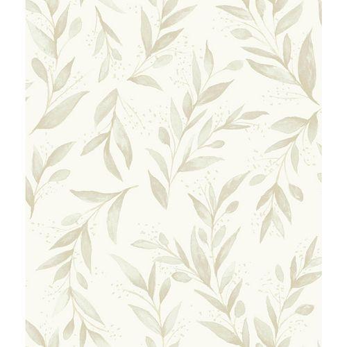Olive Branch Beige Wallpaper