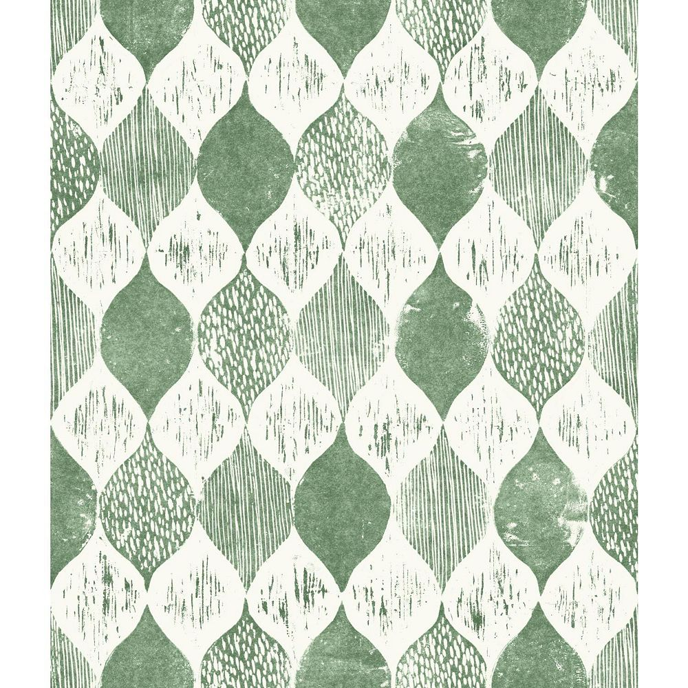 Joanna Gaines Woodblock Print Green Wallpaper