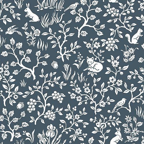 Fox & Hare Blue Wallpaper