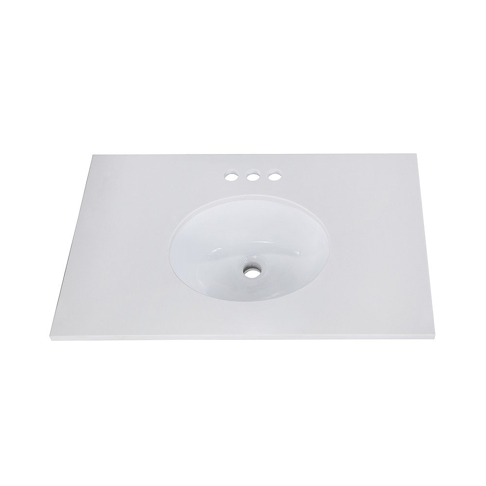 Magick Woods 31-inch W 19-inch D Engineered Stone Vanity Top with Oval Undermount Sink