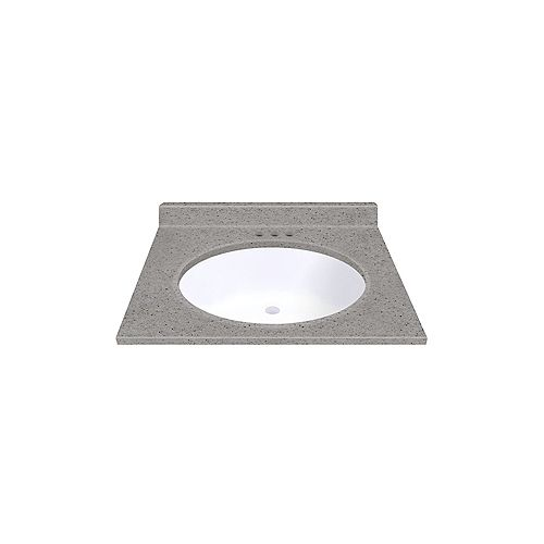 Pewter 25-inch W 22-inch D Vanity top with Integrated White Oval Bowl