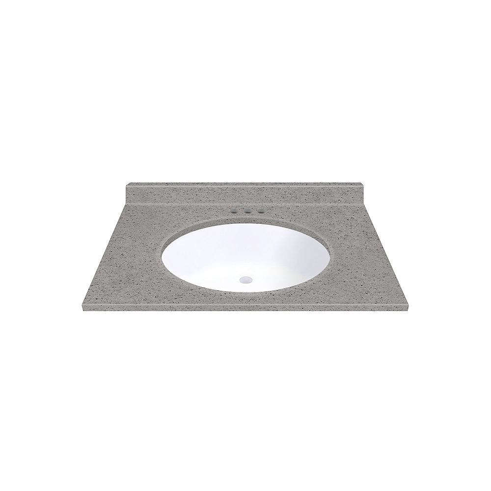 Magick Woods Pewter 31-inch W 22-inch D Vanity top with Integrated White Oval Bowl