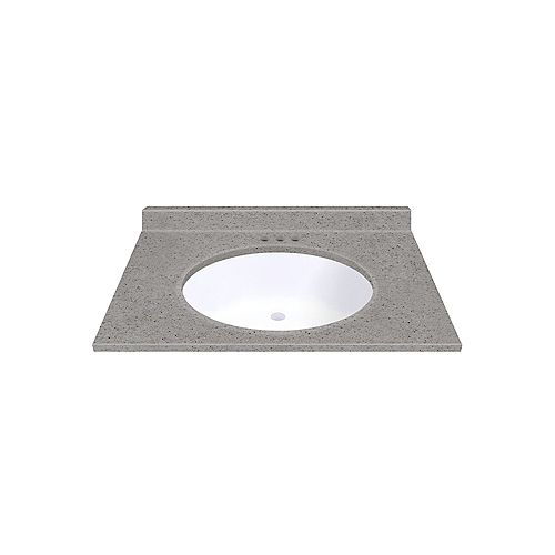 Pewter 31-inch W 22-inch D Vanity top with Integrated White Oval Bowl