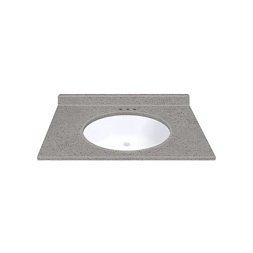 Pewter 37-inch W 22-inch D Vanity top with Integrated White Oval Bowl