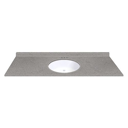 Magick Woods Pewter 61-inch W 22-inch D Vanity top with Integrated White Oval Bowl