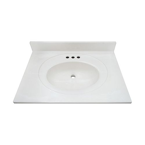White Swirl 25-inch 22-inch Cultured Marble Oval Recessed Vanity Top