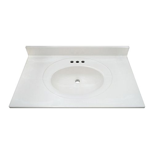 White Swirl 31-inch 22-inch Cultured Marble Oval Recessed Vanity Top