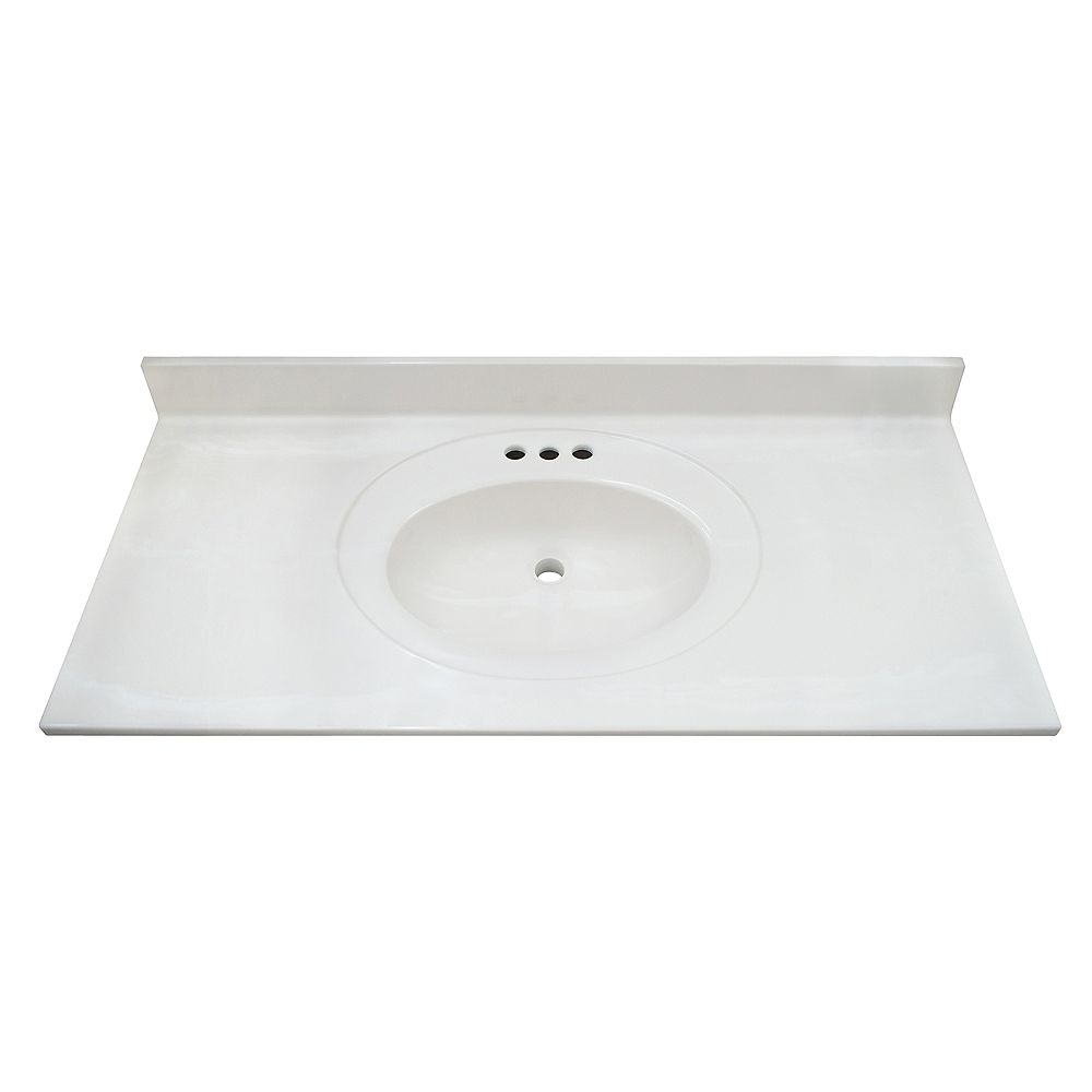 Magick Woods White Swirl 43-inch 22-inch Cultured Marble Oval Recessed Vanity Top