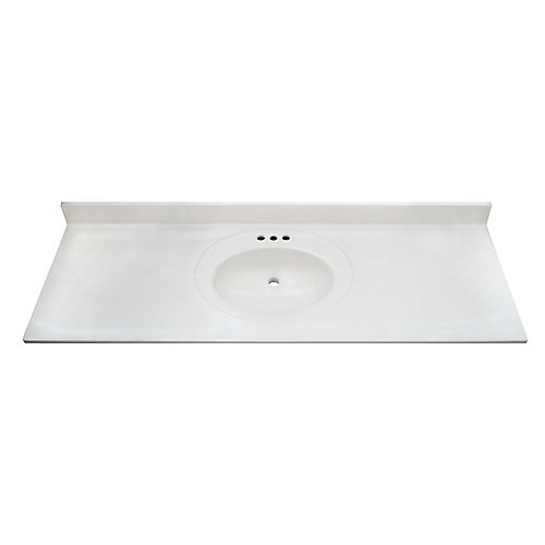 White Swirl 61-inch 22-inch Cultured Marble Oval Recessed Vanity Top(SB)