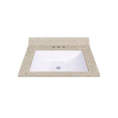 Dune 19-inch W 17-inch D Integrated White Wave Bathroom Sink Bowl with Backsplash