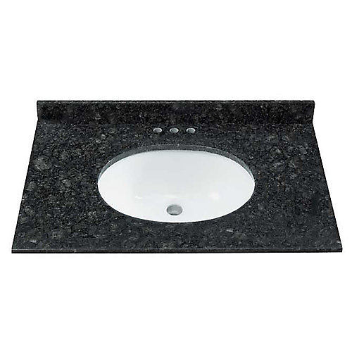 31-inch W 22-inch D Natural Granite Black/Green Vanity Top with Oval Undermount Sink