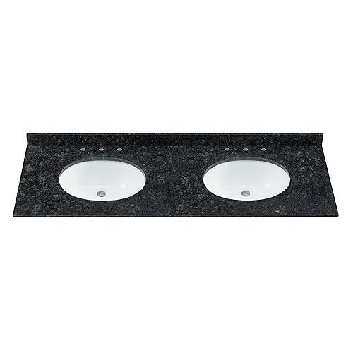 61-in W 22-in D Natural Granite Black Green Vanity Top with Oval Undermount Sink(DB)