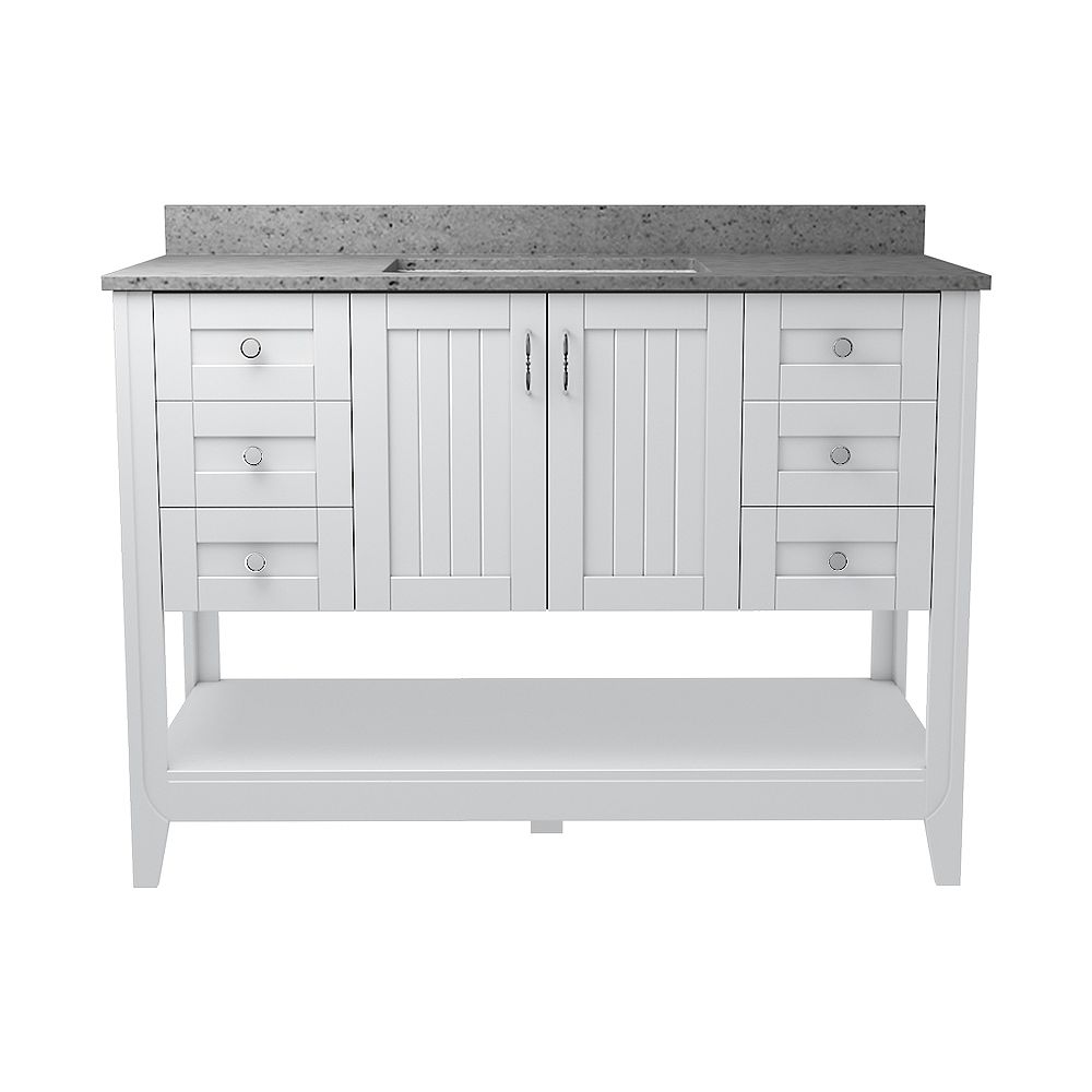 Magick Woods Newhaven 49-inch W 22-inch D Vanity with Pewter Integrated Wave Bowl top