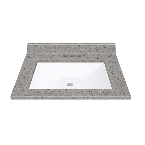 Pewter 19-inch W 17-inch D Integrated White Wave Bowl Top with Backsplash