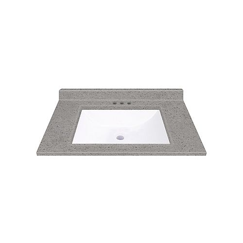 Pewter 31-inch W 22-inch D Integrated White Wave Bowl Top with Backsplash