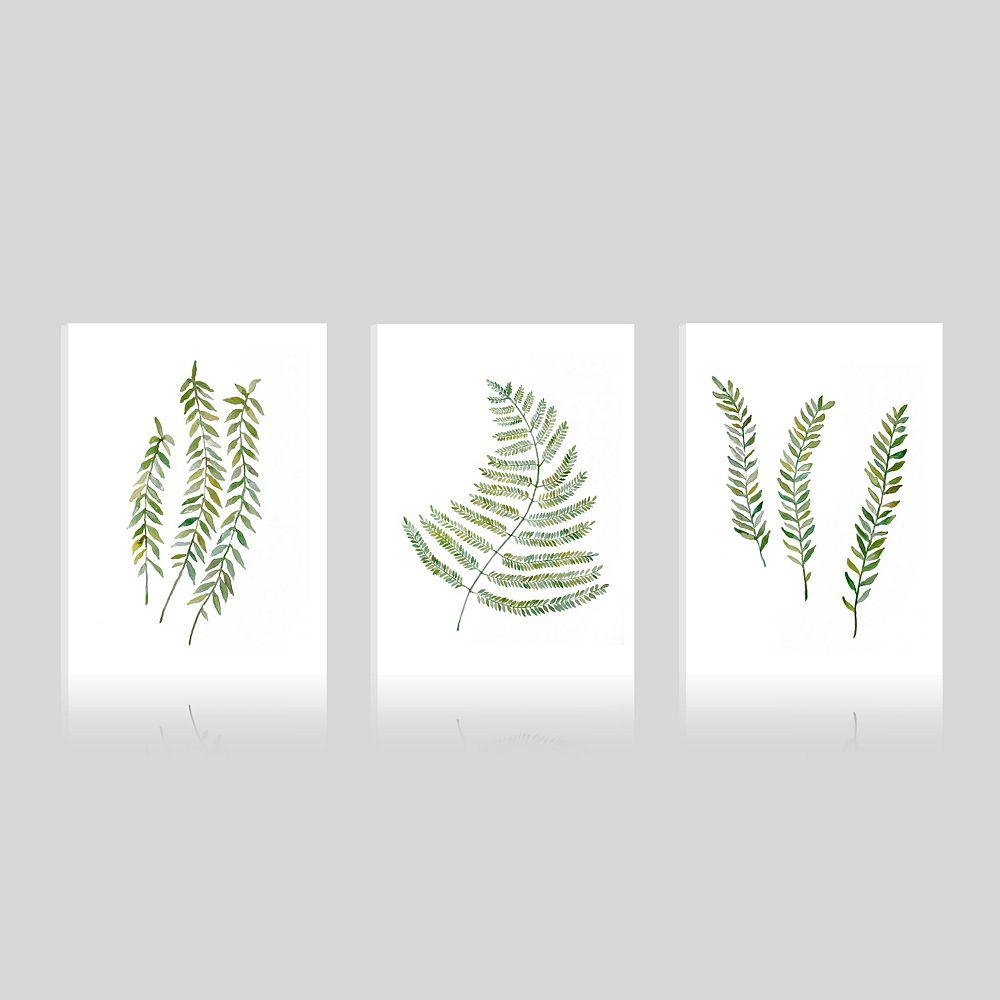ArtMaison Canada Tropical-feuilles feuille j'ai enveloppé de giclée galerie Art mur de toile-Ensemble de 3