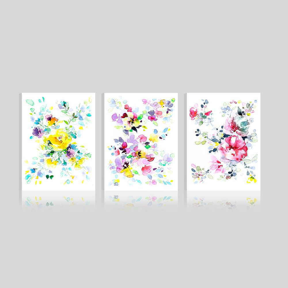 ArtMaison Canada Art Maison Canada, Floral Pink Blooms Giclee Gallery Wrapped Canvas Wall Art-Set of 3(12x16)
