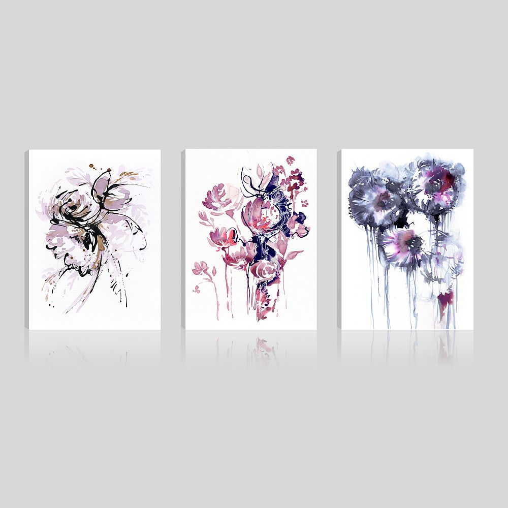 ArtMaison Canada Art Maison Canada, Floral Pink Blossomy Giclee Gallery Wrapped Canvas Wall Art-Set of 3(12x16)