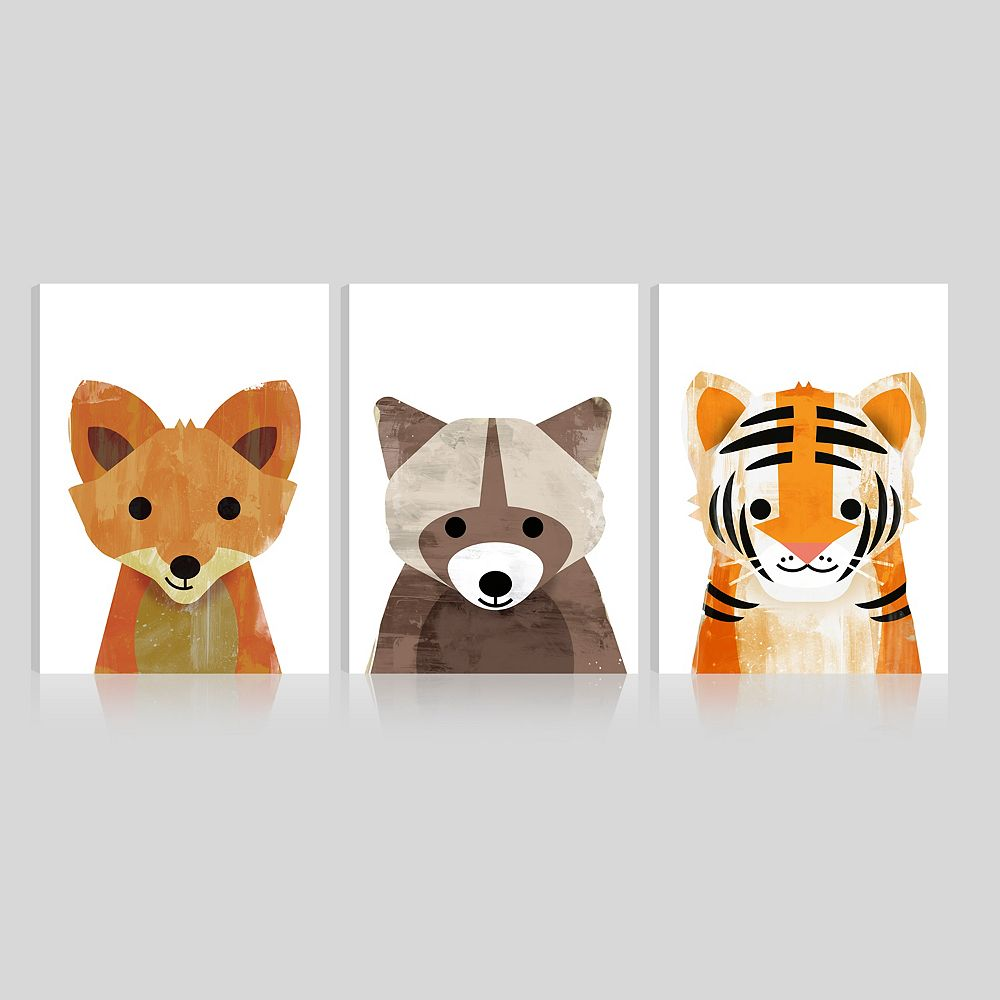 ArtMaison Canada Art Maison Canada,Kids Adorable Animals Giclee Gallery Wrapped Canvas Wall Art-Set of 3-12x16