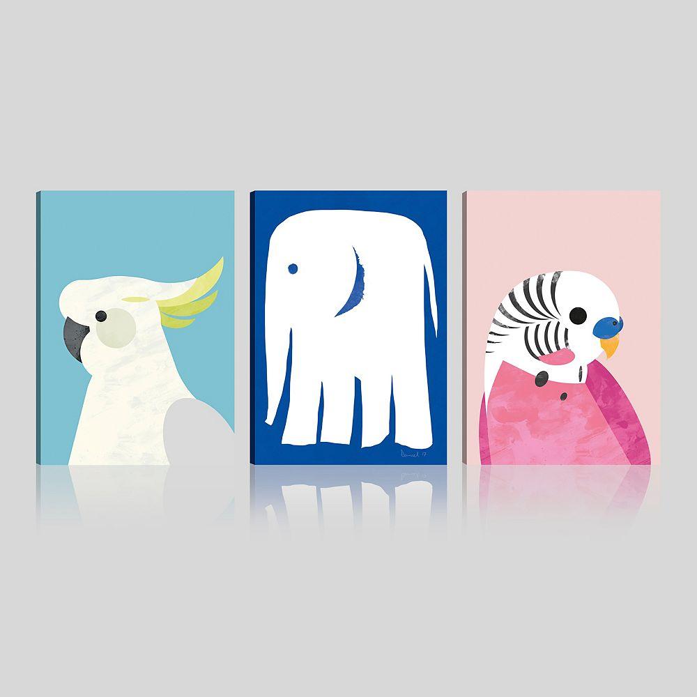 ArtMaison Canada Animal-Kids spécial Adorable giclée galerie emballés Art mur de toile-Ensemble de 3