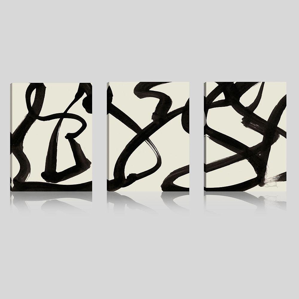ArtMaison Canada ArtMaison Canada, abstrait noir et blanc Giclee galerie enveloppé Art mur de toile-Ensemble de 3