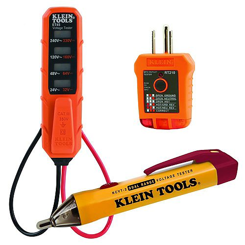 AC/DC Voltage Tester, Non-Contact Voltage Tester, and Outlet Tester Tool Set (3-Piece)