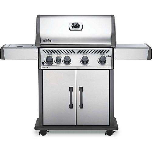 Rogue-X T 525 4-Burner Propane Gas BBQ in Stainless Steel with Infrared Side Burner