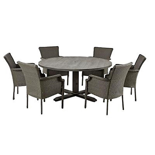 New Grayson 7-Piece Wicker Round Outdoor Dining Set in Ash Grey with Olefin Blue Cushions