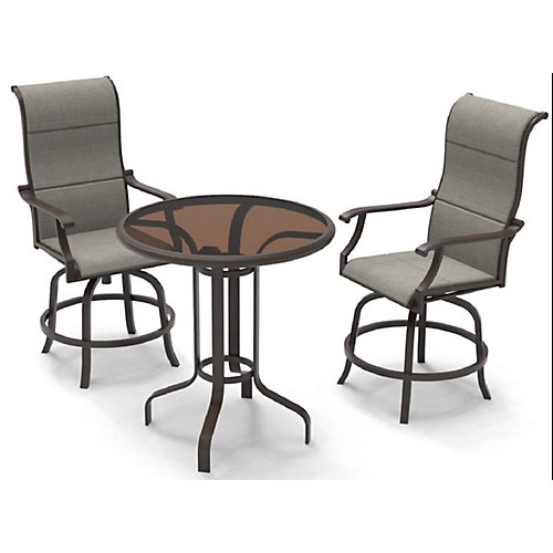 Riverbrook 3-Piece Steel Patio/Balcony Bistro Set in Espresso Brown with Swivel Sling Round Glass Table Top