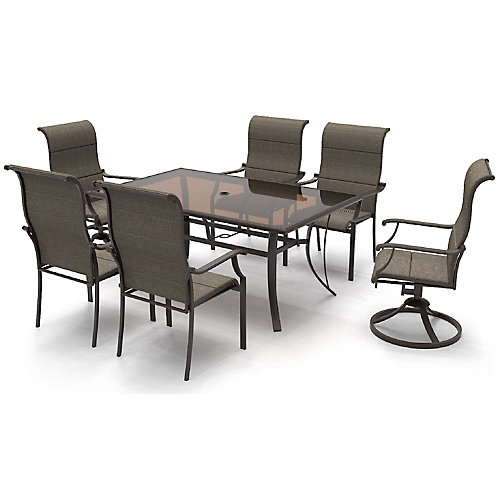Riverbrook Espresso 7-Piece Steel Rectangular Glass Top Patio Dining Set in Brown with Padded Sling Chairs