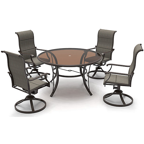 Riverbrook 5-Piece Steel Padded Swivel Sling Round Glass Top Patio Dining Set in Espresso Brown