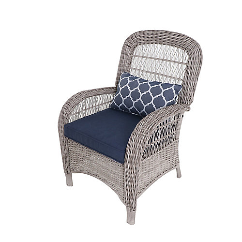 Beacon Park Wicker Outdoor Patio Captain Dining Chair in Grey with Standard Midnight Trellis Navy Blue Cushions (Set of 2)