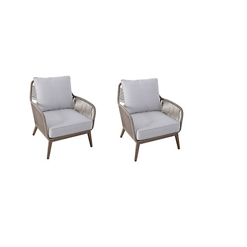 Luxley All-Weather Wicker String Patio Lounge Chair with Beige Cushion (Set of 2)