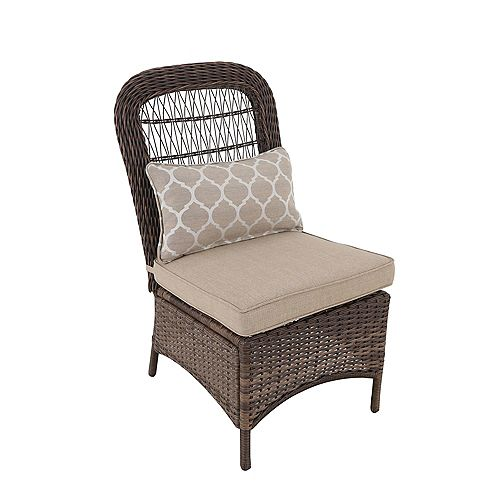 Beacon Park Wicker Outdoor Patio Armless Dining Chair in Brown with Standard Toffee Trellis Tan Cushions (Set of 2)