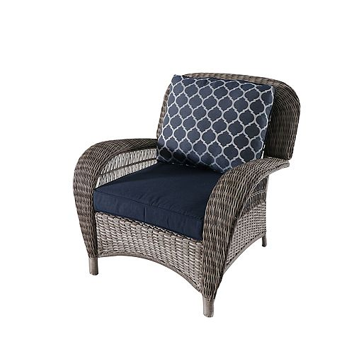 Beacon Park Wicker Outdoor Patio Stationary Lounge Chair in Grey with Standard Midnight Trellis Navy Blue Cushions